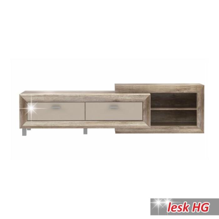 0d6a8c2f88e76 TV stolík/skrinka, dub anticky / béžová lesk HG, GATIK 131 | Nábytok ...